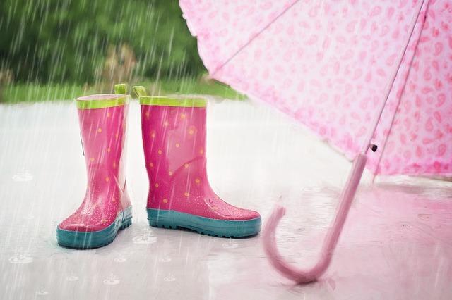 déšť, děštník, gumáky
